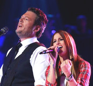 Blake Shelton and Cassadee Pope during their duet on The Voice on Monday. (NBC Photo)