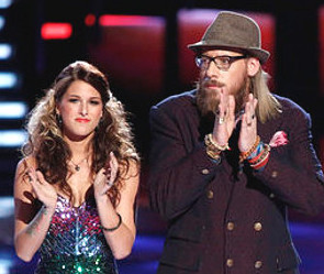 Cassadee Pope and Nicholas David as results are announced on The Voice. (NBC Photo)