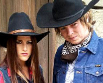 Cassadee Pope and Terry McDermott in their cowboy duds for a Voice promotional video. (NBC Photo)