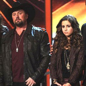 Tate Stevens and Carly Rose Sonenclar await results on The X Factor. (FOX Photo)