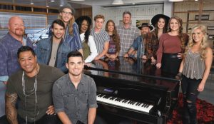 For Season 13, Team Blake Shelton includes (from left) -- Red Marlow, Esera Tuaolo, Mitchell Lee, Dennis Drummond, Ryan Scripps, Keisha Renee, Noah Mac, Rebecca Brunner, Blake Shelton, Adam Cunningham, Kristi Hoopes, Anna Catherine Dehart, Natalie Stovall -- (Photo by: Trae Patton/NBC)