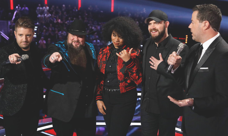 Season 11's finalists -- Billy Gilman, Sundance Head, We McDonald and Josh Gallagher -- with Carson Daly. (NBC Photo)