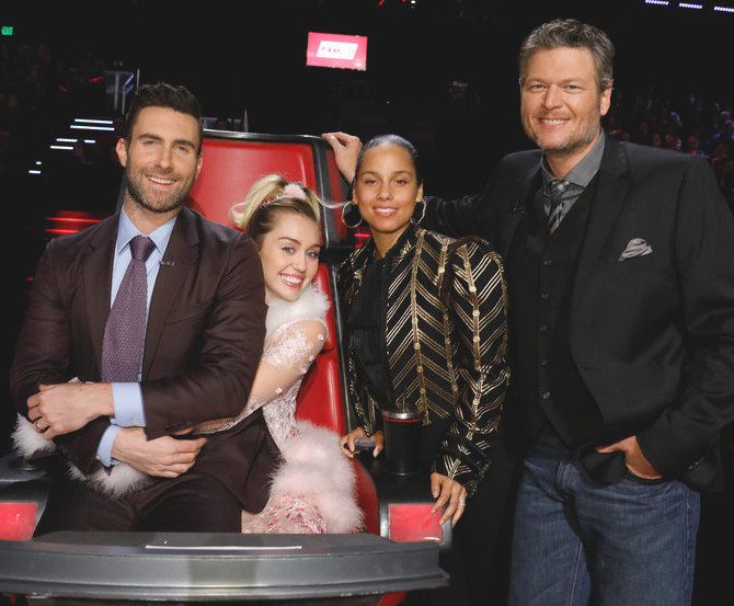 For Season 11, first-time judges Alicia Keys and Miley Cyrus joined Adam Levine and Blake Shelton. (NBC Photo)