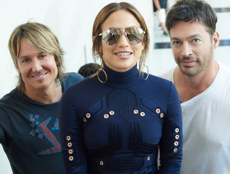 American Idol judges Keith Urban, Jennifer Lopez, Harry Connick Jr.