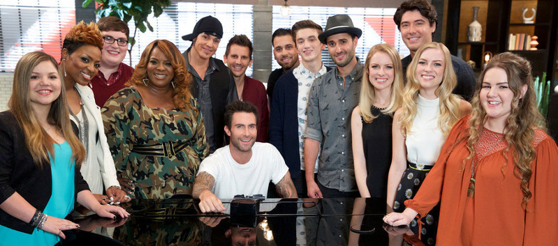 Team Adam Levine on The Voice includes (from left) Amanda Ayala, Cassandra Robertson, Jordan Smith, Regina Love, Manny Cabo, Keith Semple, Dustin Monk, Chance Pena, Viktor Kilary, Andi and Alex, James Dupre and Shelby Brown. (NBC Photo)