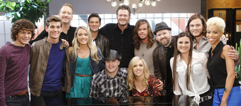 Team Blake Shelton on The Voice includes: (seated at piano) Blind Joe and Morgan Frazier; (standing, from left) Cole Criske, Zach Seabaugh, Barrett Baber, Emily Ann Roberts, Chris Crump, Tyler Dickerson, Dustin Christensen, Krista Hughes, Blaine Mitchelle and Nadjah Nicole. (NBC Photo)