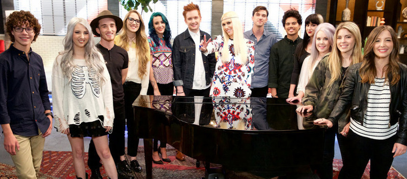 Team Gwen Stefani on The Voice includes (from left) Braiden Sunshine, Kota Wade, Noah Jackson, Korin Bukowski, Ellie Lawrence, Jeffery Austin, Chase Kerby, Tim Atlas, Alex Kandel, Summer Schappell, Hanna Ashbrook and Lyndsey Elm. (NBC Photo)