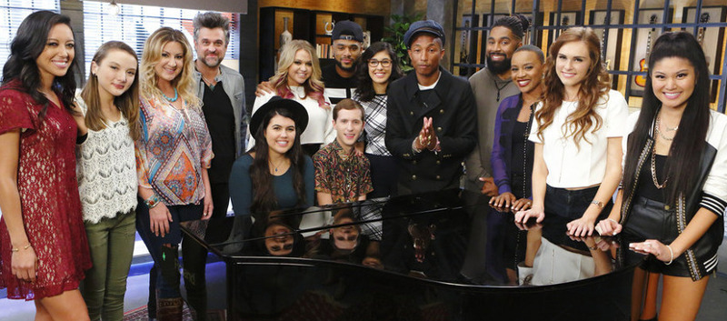 Team Pharrell Williams on The Voice includes (seated) Madi Davis and Evan McKeell, (standing, from left) Amy Vachal, Siahna Im, Jubal and Amanda, Riley Biederer, Mark Hood, Ivonne Acero, Darius Scott, Celeste Brown, Sydney Rhame and Daria Jazmin. (NBC Photo)