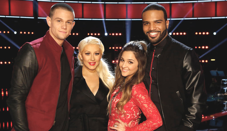 Nick Hagelin, Alisan Porter and Bryan Bautista will represent Team Christina in the finals on The Voice. (NBC Photo)