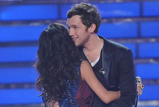 Phillip Phillips is congratulated on his American Idol win by runner-up Jessica Sanchez. (FOX Photo)