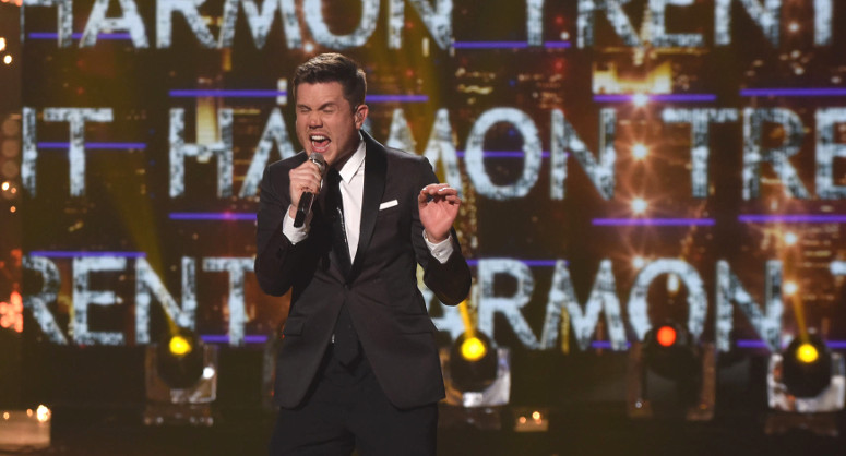 Trent Harmon sings his coronation song as the new winner of American Idol as his name flashes in the background. (FOX Photo)