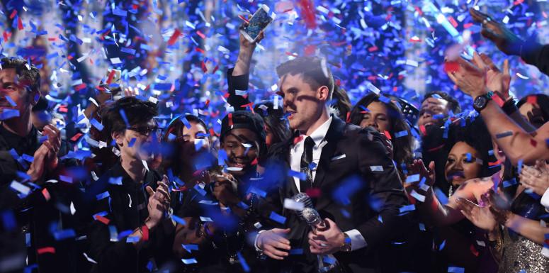 Confetti falls as Trent Harmon is named the Season 15 winner of American Idol. (FOX Photo)