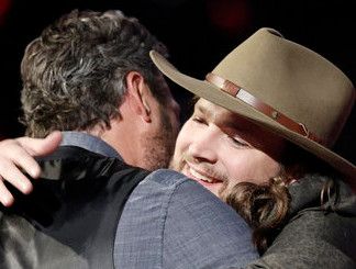 Adam Wakefield is congratulated by Blake Shelton following a performance on The Voice Monday night. (NBC Photo)