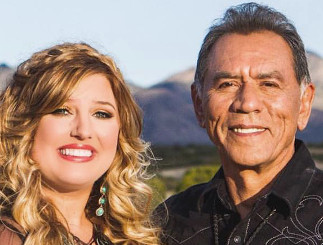 Sarah Simmons with Wes Studi during the filming of her new music video.