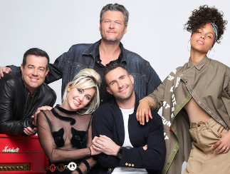 The Voice Season 11 cast -- Carson Daly, Miley Cyrus, Blake Shelton, Adam Levine and Alicia Keys. (NBC Photo)
