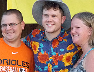 Trent Harmon meets fans after his show at the York Fair on Saturday.