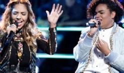 Lauren Diaz and We McDonald during the battle round on The Voice. (NBC Photo)
