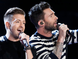 Billy Gilman and Adam Levine perform on The Voice. (NBC Photo)