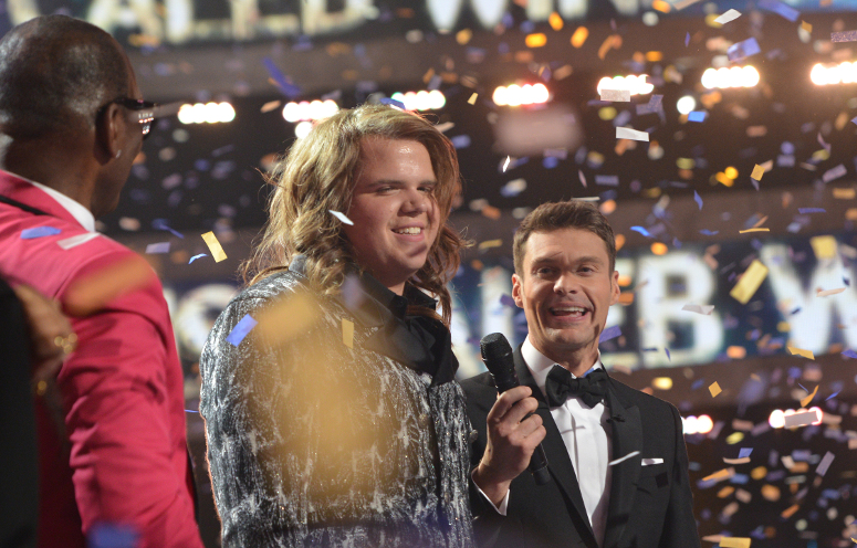 Caleb Johnson with Ryan Seacrest after winning Season 13 of American Idol. (FOX Photo)