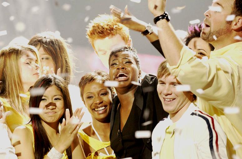 Fantasia reacts to winning Season 3 of American Idol. (FOX Photo)