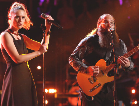 Hannah Huston and Laith Al-Saadi perform during Season 10 of the Voice. (NBC Photo)