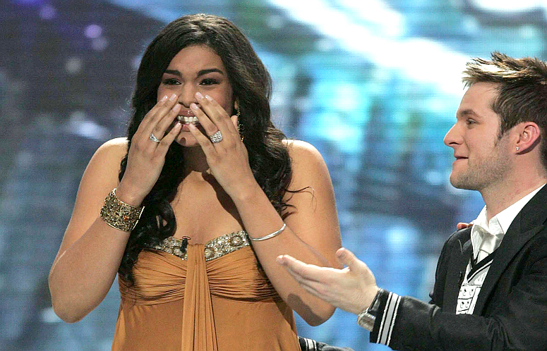 Jordin Sparks gets the news from Ryan Seacrest that she's the winner of American Idol Season 6. (FOX Photo)