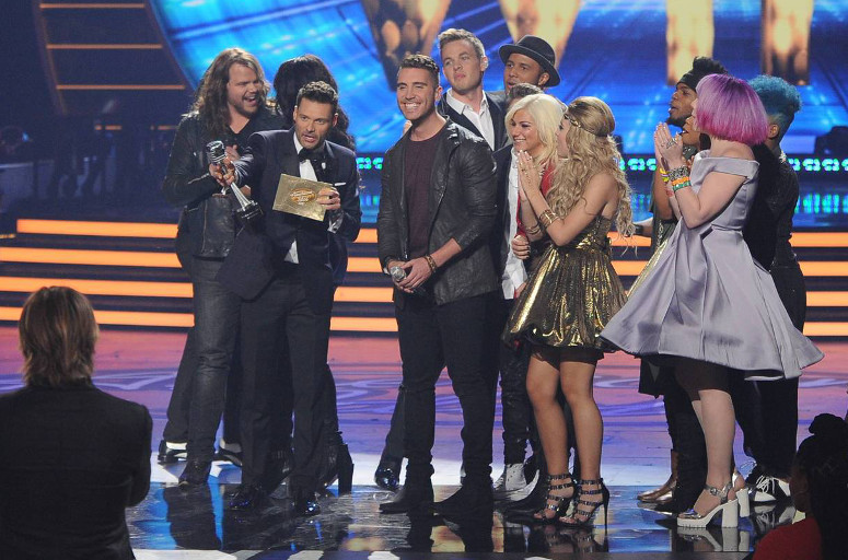 Nick Fradiani is surrounded by other finalists after winning Season 14 of American Idol. (FOX Photo)
