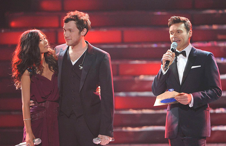 Phillip Phillips is named Season 11 winner on The Voice while runner-up Jessica Sanchez looks on. (FOX Photo)
