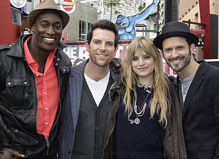 The Season 2 finalists on The Voice (from left) Jermaine Paul, Chris Mann, Juliet Simms and Tony Lucca. (NBC Photo)