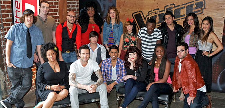 Members of Team Adam Levine on Season 3 of The Voice included (front, from left) -- Nicole Nelson, Adam Levine, Joe Kirland, Benji, Caitlin Michele, Adanna Duru, Sam James; (back, from left) Samuel Mouton, Collin McLoughlin, Brian Scartocci, Michelle Brooks-Thompson, Loren Allred, Melanie Martinez, Brandon Mahone, Bryan Keith, Alessandra Guercio, Kayla Nevarez. (NBC Photo)