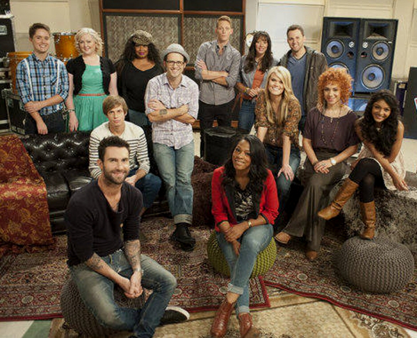 Team Adam members for Season 2 of The Voice included (seated) Angel Taylor, (second row, from left) Nathan Parrett, Tony Lucca, Nicolle Galyon, Whitney Myer, Mathai, (back row, from left) Pip, Katrina Parker, Kim Yarbrough, Orlando Napier, Karla Davis, Chris Cauley. (NBC Photo)