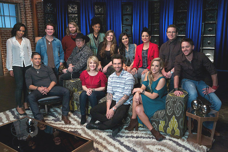 Members of Team Adam Levine for Season 4 of The Voice included (seated from left) Duncan Kamakana, Michael Austin, Amber Carrington, Amy Whitcombe, Warren Stone; (back row, from left) Sasha Allen, Patrick Dodd, Ryan Hayes of Midas Whale, Judith Hill, Sarah Simmmons, Agina Alvarez, Karina Iglesias, Jon Peter Lewis of Midas Whale.