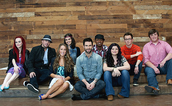 Team Adam Levine from Season 1 of The Voice.  Front (from left) -- Casey Weston, Adam Levine, Rebecca Loebe; back (from left) Casey Desmond, Tim Mahoney, Angela Wolff, Javier Colon, Devon Barley, Jeff Jenkins (NBC Photo)