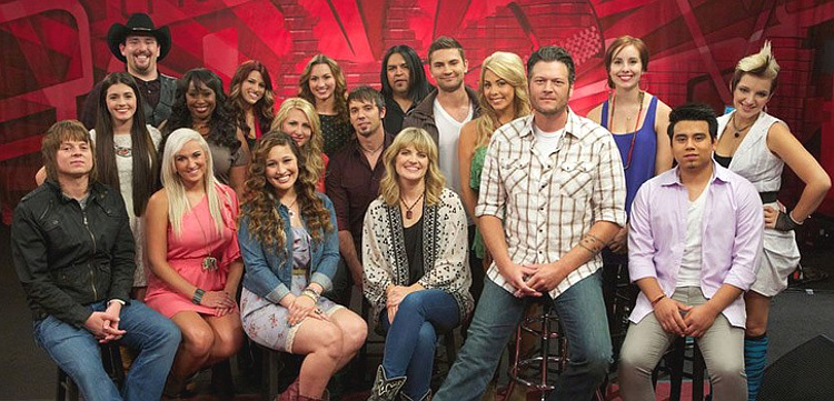 Members of Team Blake Shelton on Season 3 of The Voice included (seated, from left) Terry McDermott, Gracia Harrison, Nicole Johnson, Suzanna Choffel, Blake Shelton, Julio Cesar Castillo; (second row, from left) Kelly Crapa, Terisa Griffin, Allison Steel of 2Steel Girls, ryan Jirovec, Charlie Rey, Liz Davis; (back, from left) Casey Muessigmann, Cassadee Pope, Krystal Steel of 2Steel Girls, Rudy Parris, Lelia Broussard, Michaela Paige (NBC Photo)