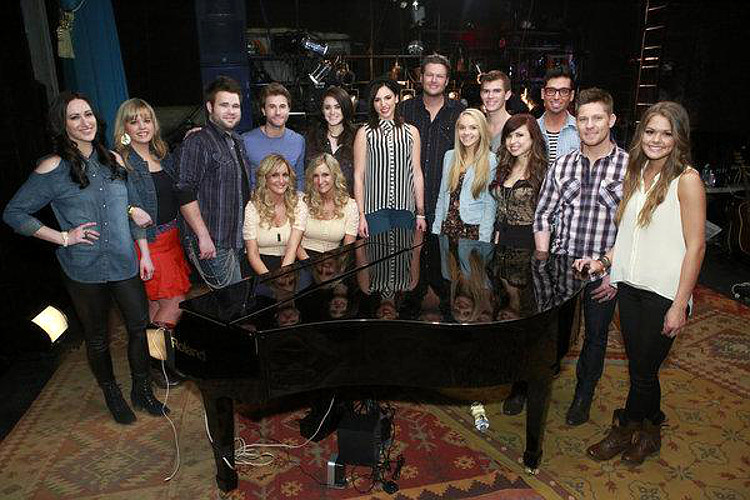 Members of Team Blake Shelton for Season 4 of The Voice included (seated at piano) The Morgan Twins; (standing from left) Jacqui Sandell, Holly Tucker, Zach and Colton Swon of The Swon Brothers, Grace Askew, Michelle Raitzin, Blake Shelton, Danielle Bradbery, Christian Porter, Savannah Berry, Trevor Davis, Justin Rivers, Caroline Glaser.