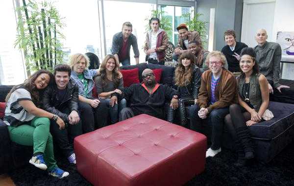 Team Cee Lo Green members on Season 2 of The Voice included (seated from left) Cheesa, Tristan and Rory Shields of The Shields Brothers, Angie Johnson, Cee Lo Green, Juliet Simms, Jamie Lono, Erin Martin; (back row, from left) Justin Hopkins, James Massone, Jamar Rogers, Sarah Golden, Tony Vincent. (NBC Photo)