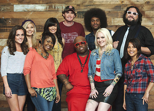Team Cee Lo Green from Season 1 of The Voice -- front (from left) Kelsey Rey, Niki Dawson, Cee Lo Green, Emily Valentine, Vicci Martinez; back (from left) -- The Thompson Sisters (Tori and Taylor Thompson), Curtis Grimes, Tje Austin, Nakia. (NBC Photo)