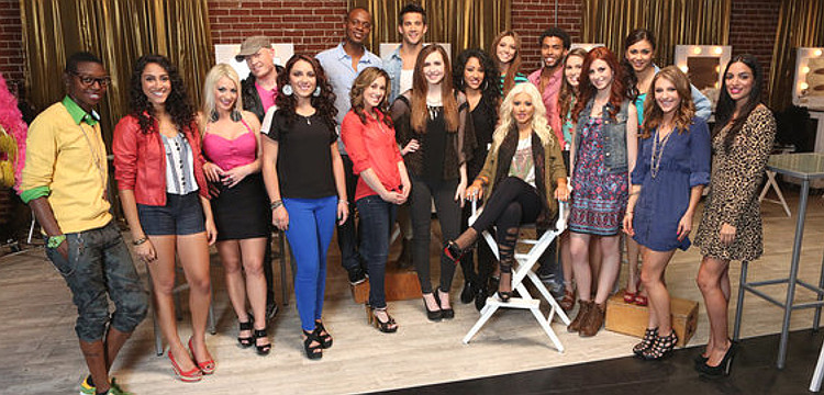Members of Team Christina Aguilera on Season 3 of The Voice included (front, from left) De'Borah, Sylvia Yacoub, Natasha Neuschwander of Beat Frequency, MarissaAnn, Lisa Scinta, Celica Westbrook, Laura Vivas, Christina Aguilera, Nathalie Hernandez, Paulina Cerrilla, Jordan Pruitt, Adriana Louise; (back, from left) Shawn Lewis of Beat Frequency, Nelly's Echo, Dez Duron, Aquile, Joselyn Rivera (NBC Photo)