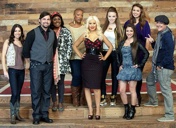 Team Christina Aguilera from Season 1 of The Voice -- (from left) Cherie Oakley, Justin Grennan, Tarralyn Ramsey, Frenchie Davis, Christina Aguilera, Lily Elise, Raquel Castro, Julia Eason, Beverly McClellan. (NBC Photo)