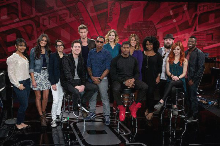 Members of Team Usher on Season 4 of The Voice included (from left) Jamila Thompson, Chelsea M., Michelle Chamuel, Jeff Lewis, Josiah Hawley, VEDO, Audrey Karrasch, Usher, Jess Kellner, Jessica Childress, Ryan Innes, Taylor Beckham, Orlando Dixon.