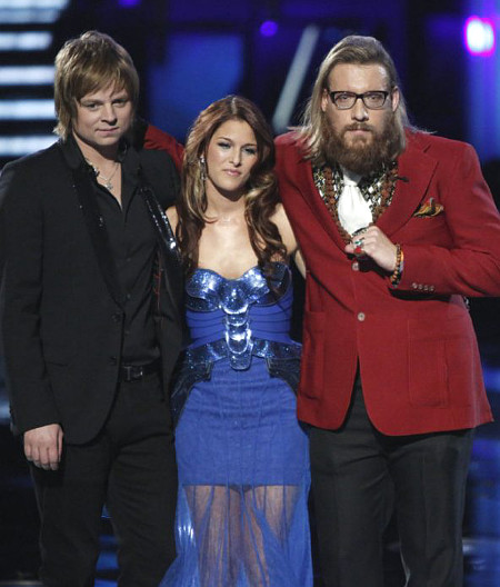 The Voice Season 3 winner Cassadee Pope flanked by the other finalists, Terry McDermott (right) and Nicholas David. (NBC Photo)