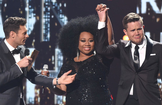 Trent Harmon breaks down into tears after being named the 15th and final winner of American Idol. At his left is runner-up La'Porsha Renae. (FOX Photo)