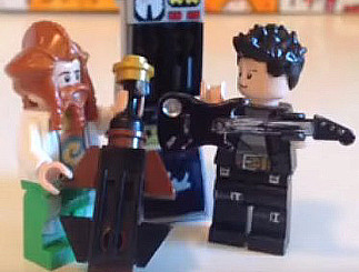 Casey Abrams and James Durbin as Lego figures in Scratchers N Cheap Beer