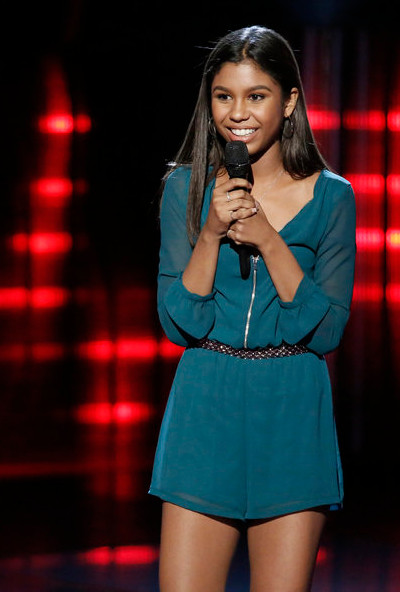 Aliyah Moulden, just 15, listens to the coaches' feedback on The Voice. (NBC Photo)