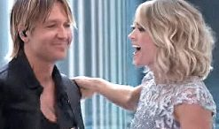 Carrie Underwood and Keith Urban after performing The Fighter at the 2017 Grammys