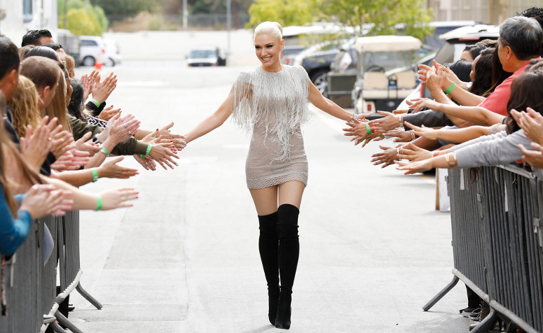 Gwen Stefani is greeted by fans as she arrives for the Season 12 blind auditions. (NBC Photo)