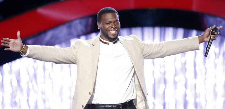 J. Chosen celebrates turning four chairs on The Voice Season 12. (NBC Photo)
