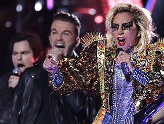 Luke Edgemon with Lady Gaga- at Super Bowl halftime show