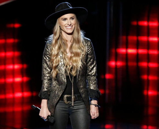 "Stephanie Rice listens to feedback from the judges after performing Kelly Clarkson's ""Piece by Piece."" (NBC Photo)"
