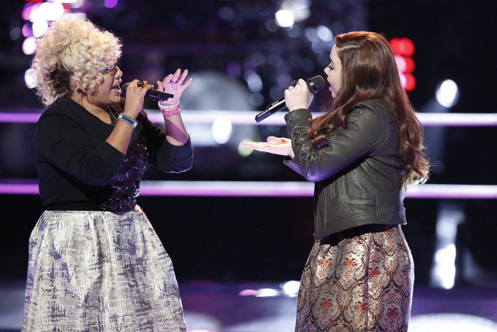 Aaliyah Rose and Savannah Leighton perform during the battle round on The Voice Season 12 (NBC Photo)